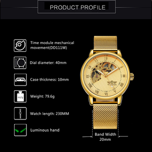 Image 2 - WINNER Official Royal Gold Mechanical Watch Man Mesh Strap Half Cover Skeleton Dial Fashion Dress Mens Watches Top Brand Luxury