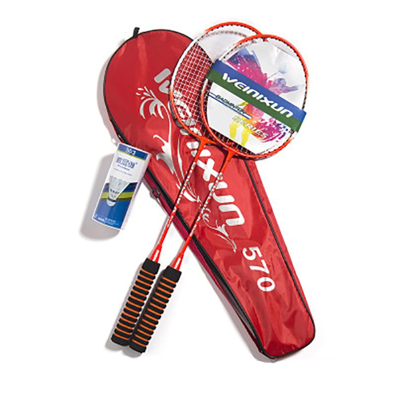 2Pcs/Set Badminton Racket Training Sport Equipment With Grips And Bag Portable Durable Ultra Light Racquet