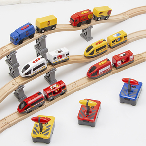 Image 4 - RC Electric Train Set With Carriage Sound and Light  Express Truck FIT Wooden Track Children Electric Toy Kids Toys