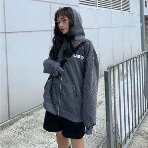 Image 2 - Felpe Delle Donne di Stile Coreano Studenti della Chiusura Lampo Allentata Grande Ulzzang All partita Semplice Lettera di Modo Stampato Zip up Delle Donne felpe