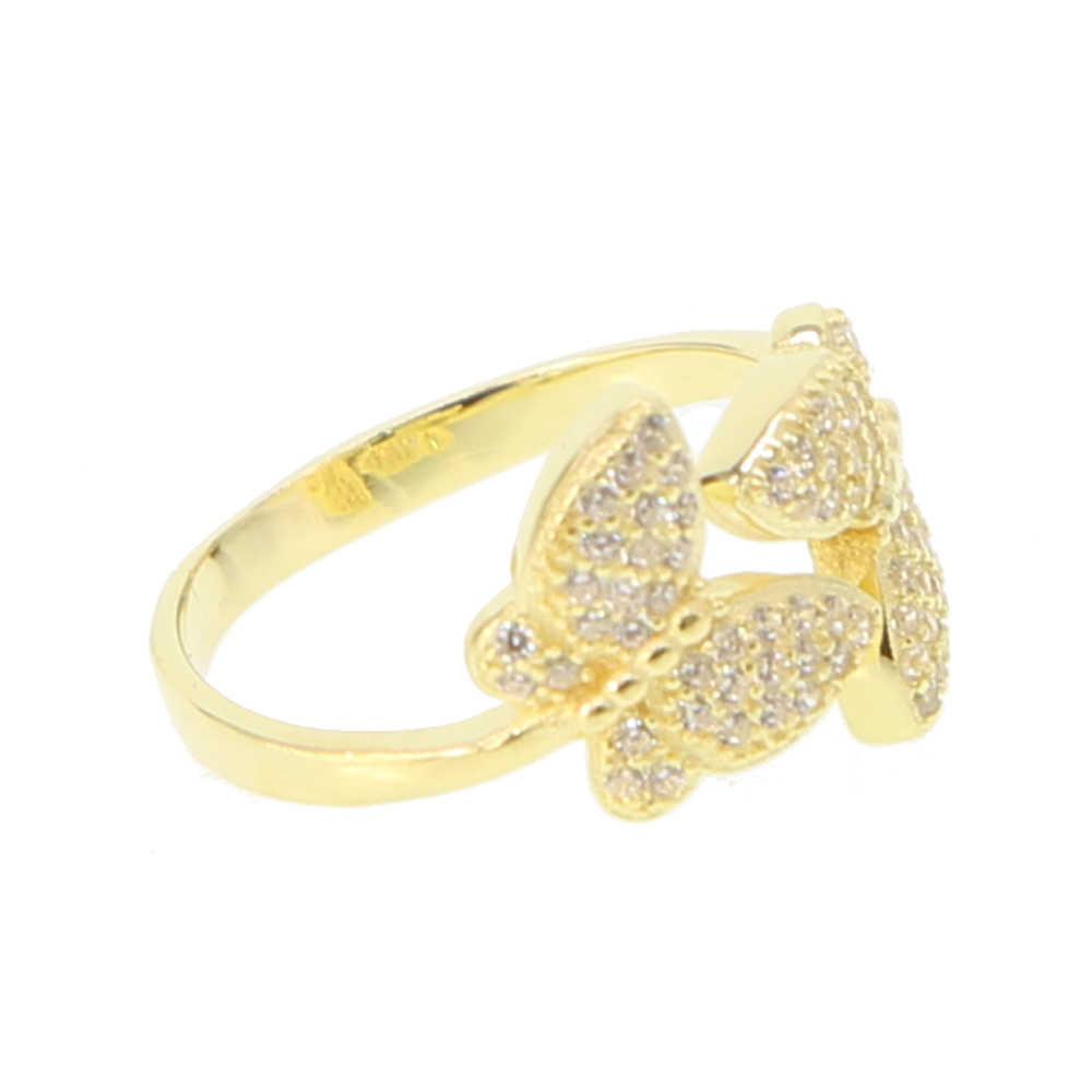 แฟชั่นเงินแท้ 925 เงินน่ารักผู้หญิงเครื่องประดับขนาด 5-8 สีทองผีเสื้อ Pave CZ opan แหวนขาย