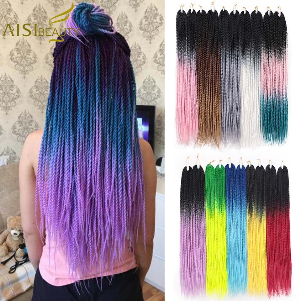AISI BEAUTY 24inch Ombre Senegalese Twist Braiding Hair Crochet Braids Synthetic Crochet Hair Extensions Black Brown Women