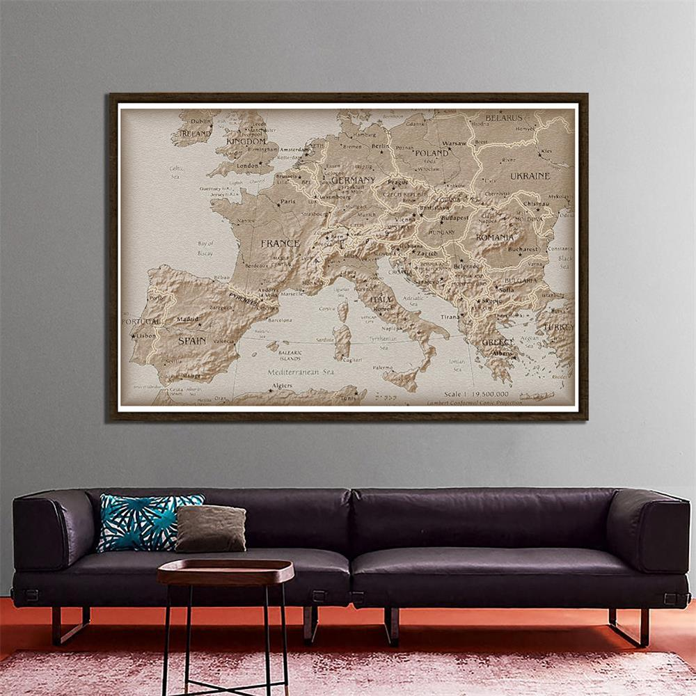 Simple Europe Non-woven Map 150x100cm School Student Map For Education And Beginner