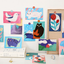 Decorative-Card Oil-Painting Wall-Sticker Background Cartoon Cute Flower Animal 15sheets