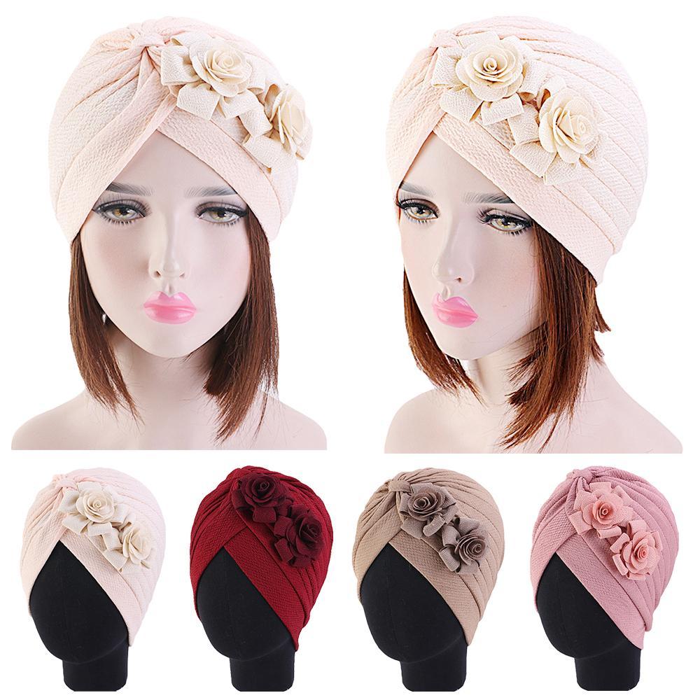 Women Muslim Islamic Elastic Turban Head Scarf Double Large Flower Beanie Hat Headwear Fashion Ruffle Turban Cap