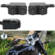 Universal Motorcycle Mirror Mount Switch Headlight Hazard Brake Fog Light Switch Waterproof Aluminum Dual ON-OFF-ON Switch Tools