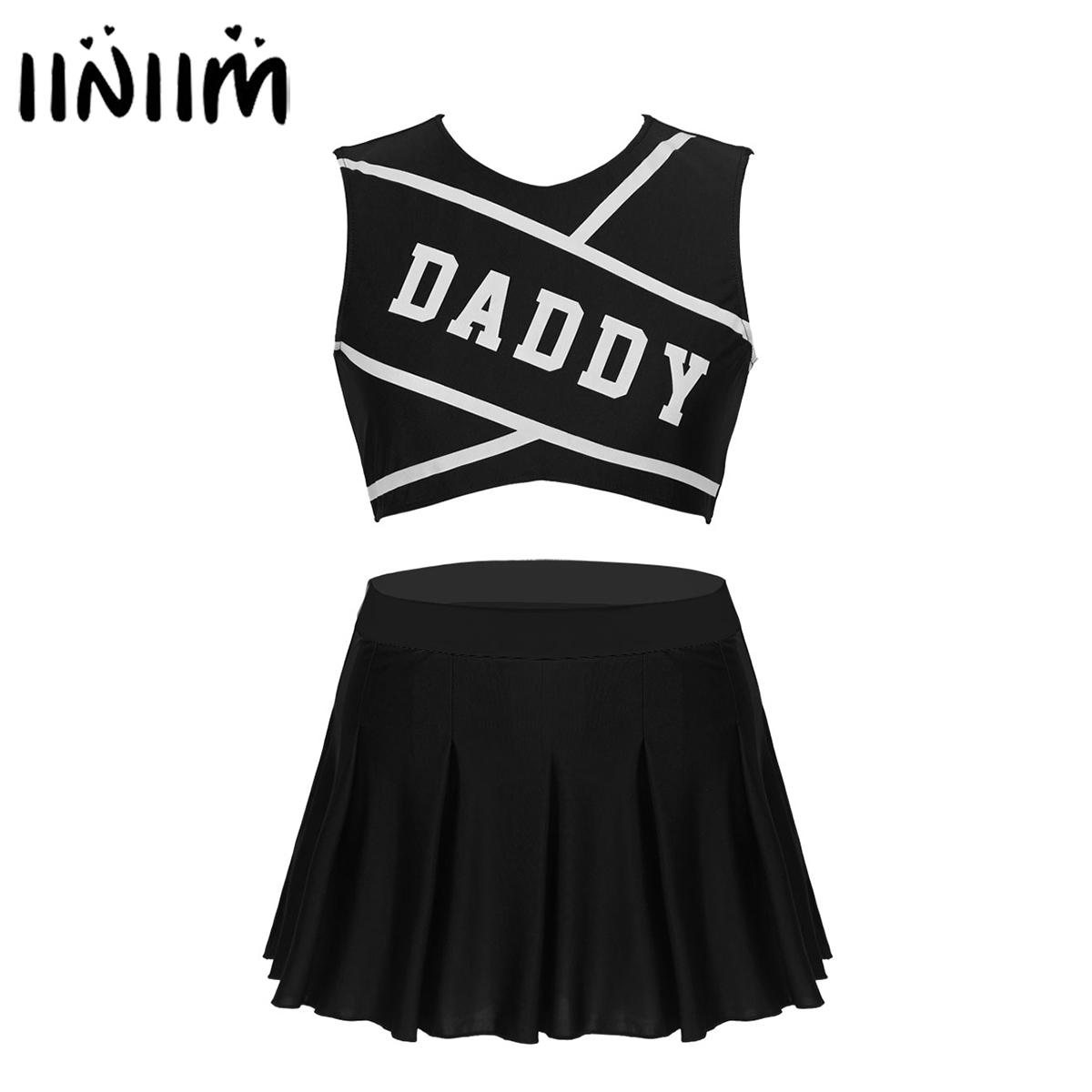 iiniim Womens Adult Schoolgirl Charming Cheerleader DADDY Lover for Halloween Cosplay Costume Crop Top with Mini Pleated Skirt