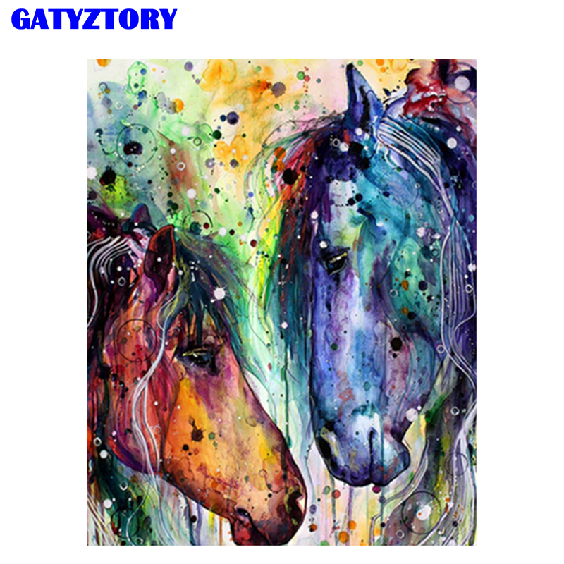 GATYZTORY Frame Animal Horse Full Set DIY Digital Paints By Numbers Oil Painting By Numbers Acrylic Wall Art For Home Decoration