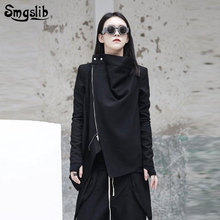 2019 new spring Women's Coat jacket stand collar long sleeve black zippper split joint irregular jackets women Fashion Tide цена