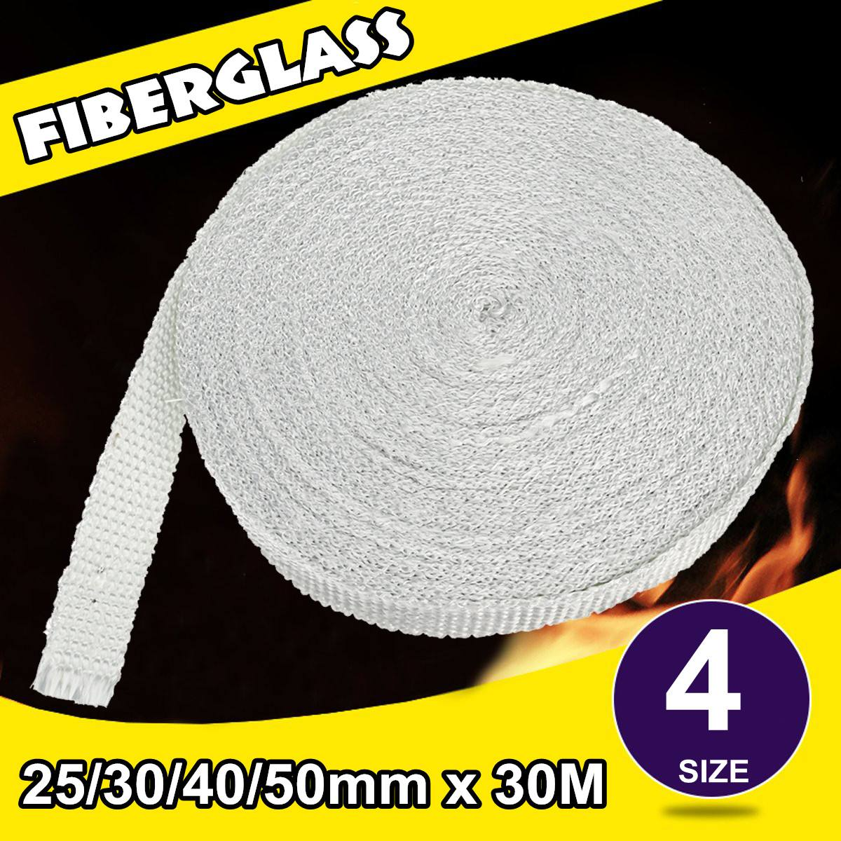 Grey Fiberglass Cloth Tape High strength Glass Fiber Fibrous Belt Resistant High Temperature Fiberglass Sealing Tape 4 Size