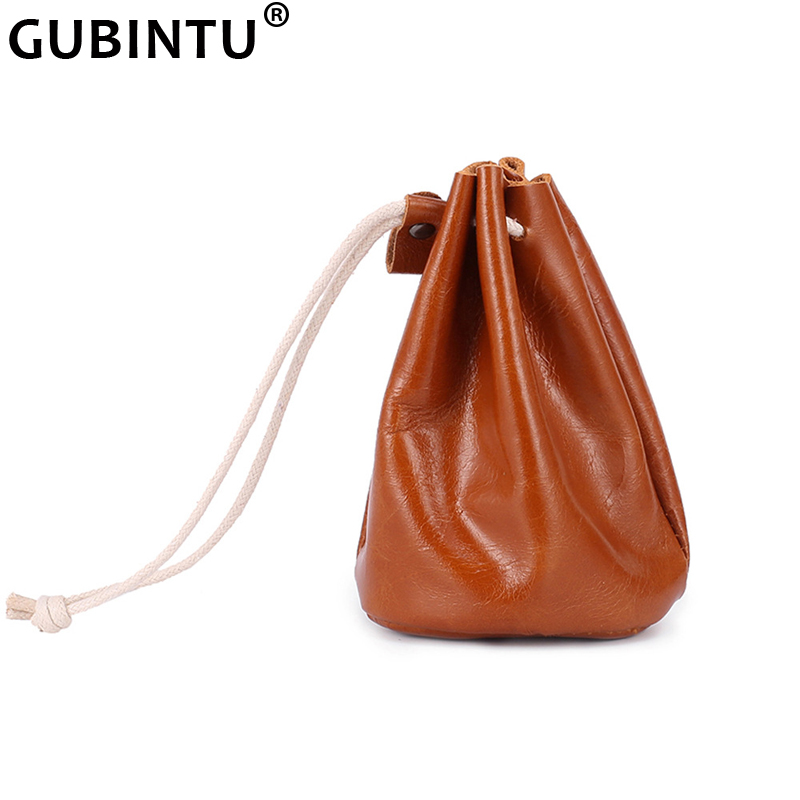 Original Handmade Oil Wax Leather Small Unisex Coin Purse New Cow Leather Coins Money Pocket Retro Wallet Drawstring Storage Bag