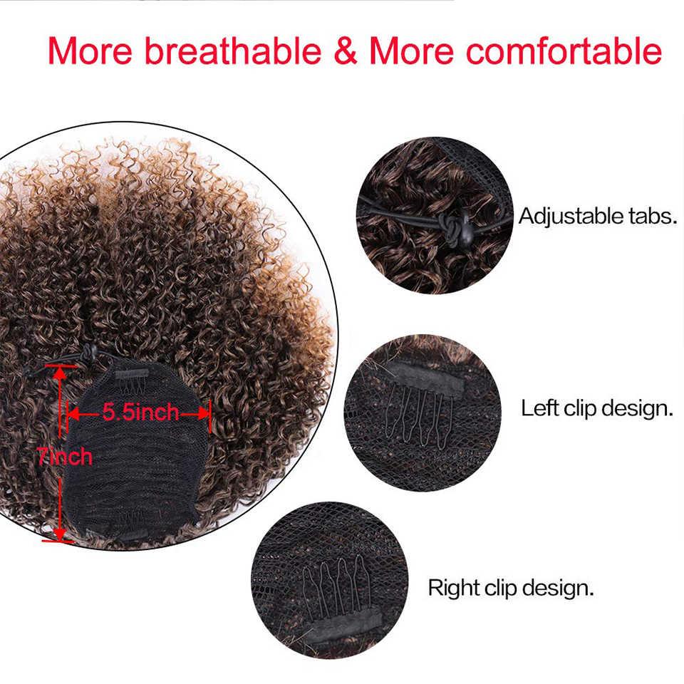 Grampo de cauda de pônei do sopro do cordão sintético do envoltório curto do afro-americano africano encaracolado perverso afro-americano em extensões do cabelo