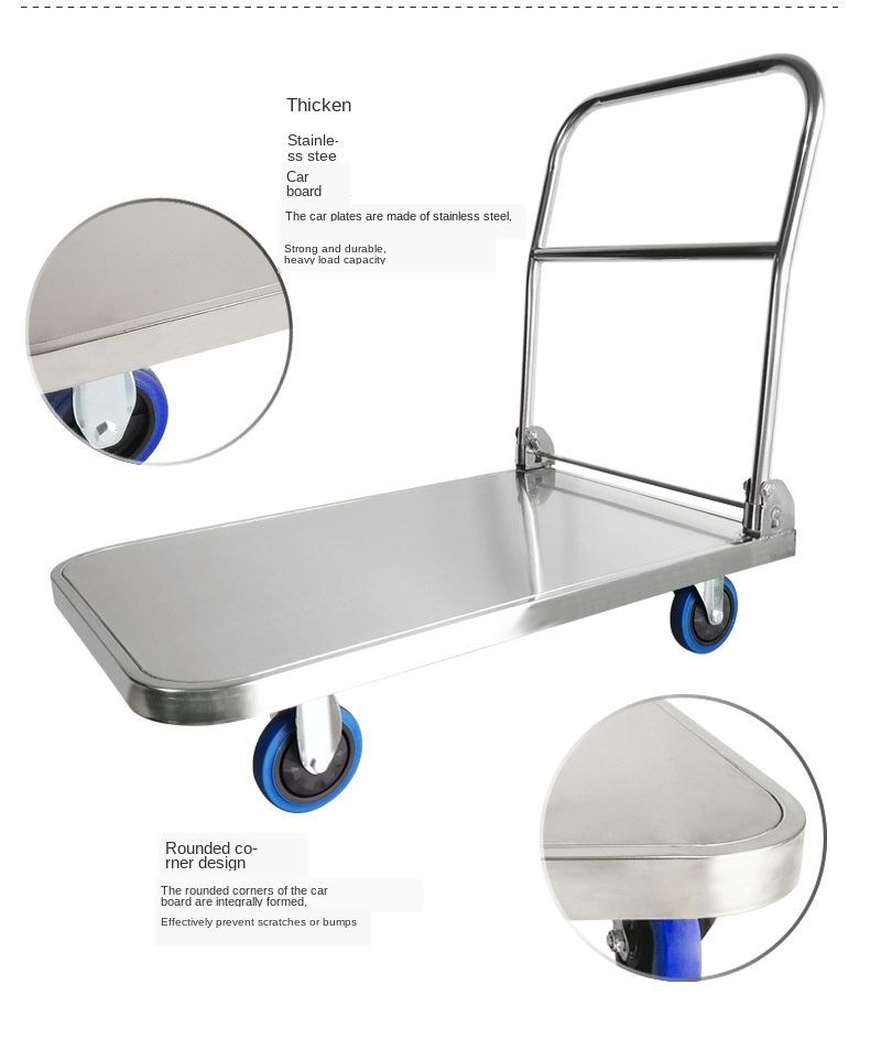【Global Free Shipping】304 Stainless Steel Flat Trolley Hotel Dining Trolley Stainless Steel Folding Mute Trolley