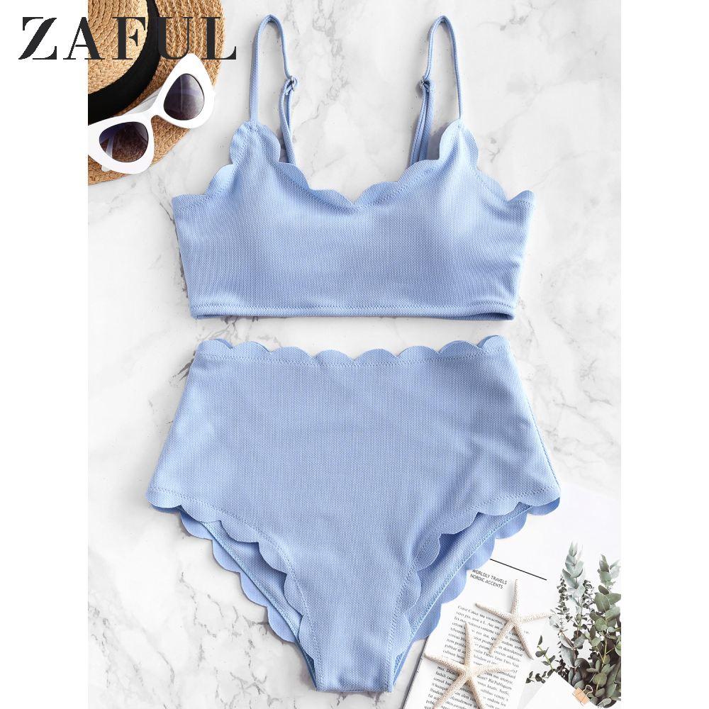 ZAFUL Women Textured Scalloped High Rise Bikini Swimsuit Wire Free Spaghetti Straps Solid Color Bikini Sets Removable Padded
