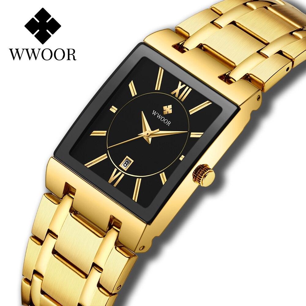 WWOOR Mens Wristwatch Square Quartz Watches For Men Top Luxury Gold Watch Man Stainless Steel Waterproof Clock relogio masculino|Quartz Watches| - AliExpress