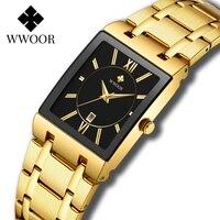 Wwoor Mens Vierkante Quartz Horloges Luxe Gouden Zwarte Horloge Roestvrij Staal Waterdichte Automatische Datum Klok Relogio Masculino