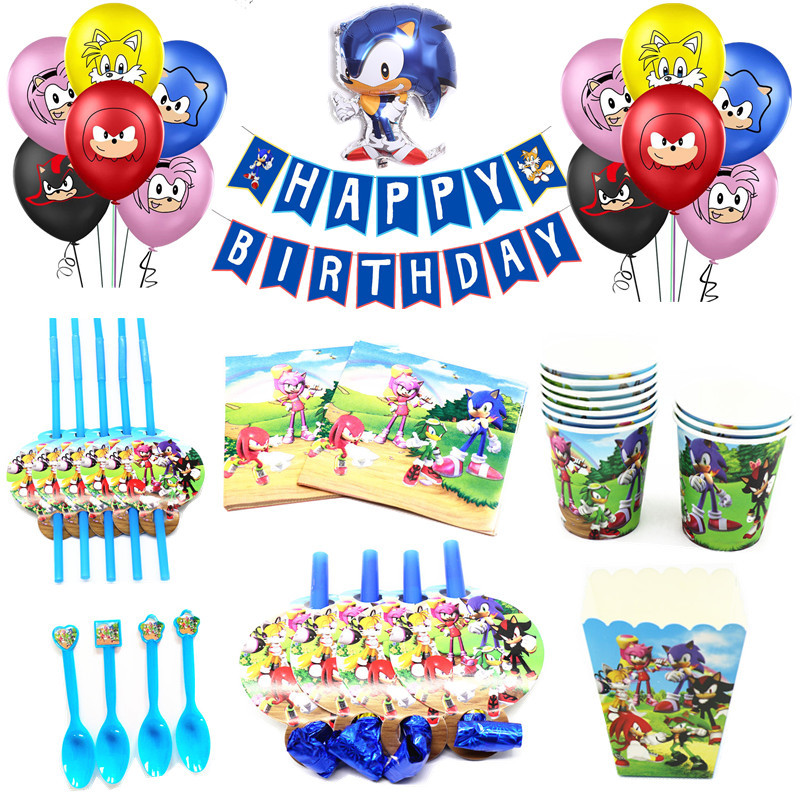Sonic The Hedgehog Birthday Party Decor Party Supplies Paper Cups Plates Straw Foil Balloon Set Kids Baby Shower