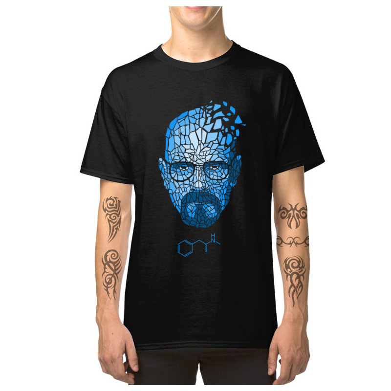 Heisenberg_Blue_-_Breaking_Bad_3256 Short Sleeve T Shirt Round Collar Pure Cotton Men T-shirts Cool Tops T Shirt Family Heisenberg_Blue_-_Breaking_Bad_3256 black