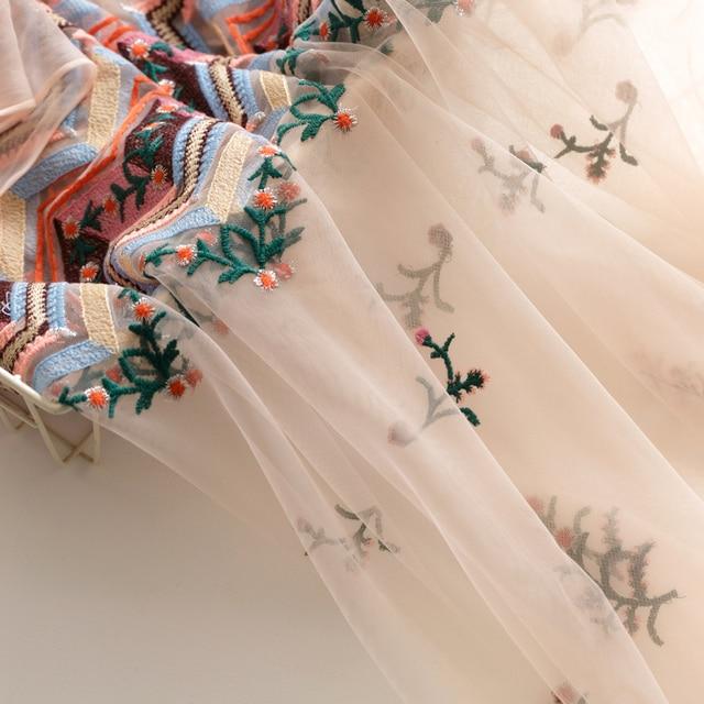 130cm 0.5 m/lot doux européen brodé maille tissu rose robe t-shirt tissu matériel X945