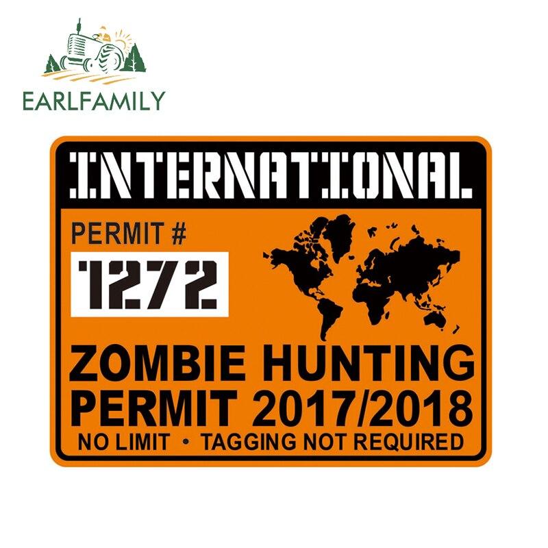 EARLFAMILY 13cm X 9.75cm International ZOMBIE Hunting Permit Waterproof Decal Halloween Car Sticker Refit Decals Rear Windshield