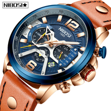 NIBOSI Watches Men Fashion Leather Band Quartz Wristwatch Military Chronograph Clock Waterproof Sporty Watch Relogio Masculino fashion watches men double movt numbers and strips hours marks leather band quartz men sports watches military watch relogio page 3