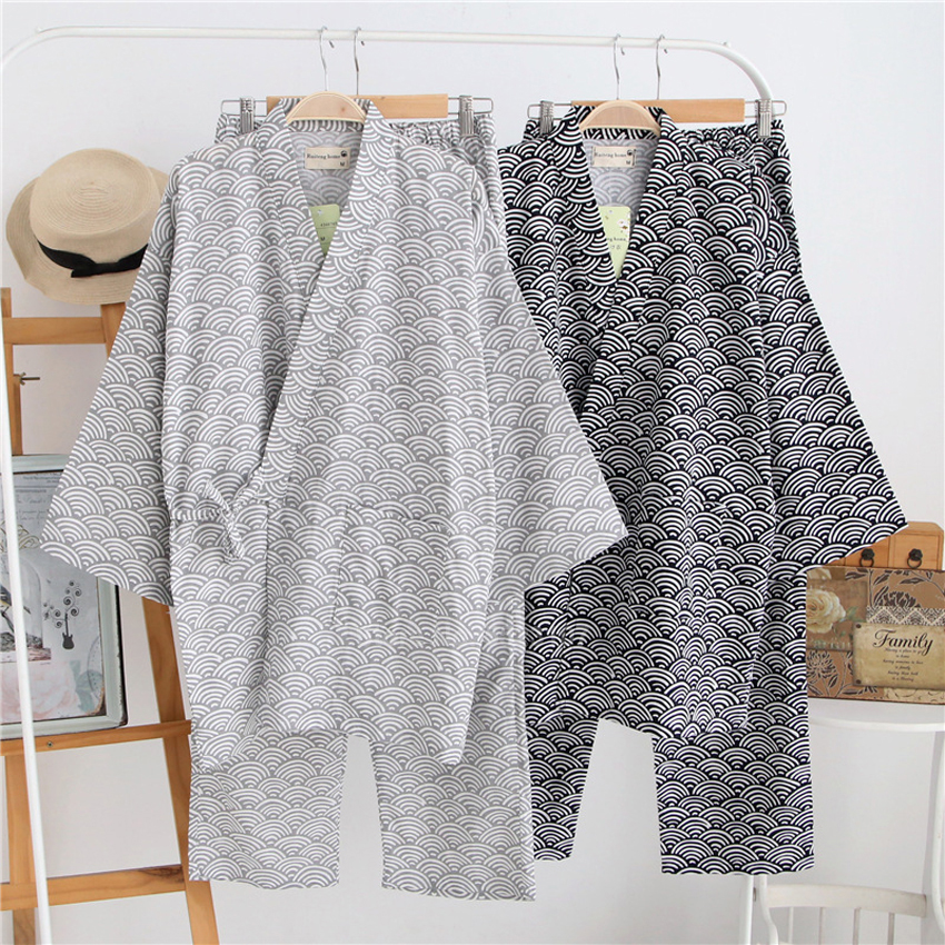Samurai Man Japanese Traditional Kiimoono Set Pajamas Wave Print V-neck Loose Style Cotton Sleepwear Pyjamas Haori Trousers