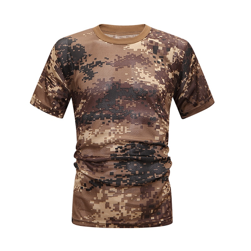 Mens Camouflage T-Shirt 2020 Summer New Quick Drying Short Sleeve Tee Tops Men Outdoor Military Tactical Combat Fitness T-Shirt