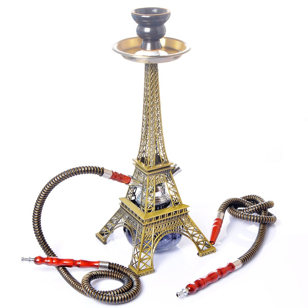 Eiffel Tower Hookah Double Pipe Hookah Set  Dry  Smoking Accessories for Weed Cute for Girls  Bowls   Bong 6