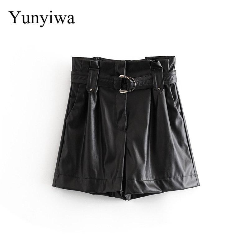 Women Fashion PU Leather Belt Paper Shorts Ladies Pleats Ruffles High Waist Zipper Fly Casual Chic Pantalone Cortos Shorts