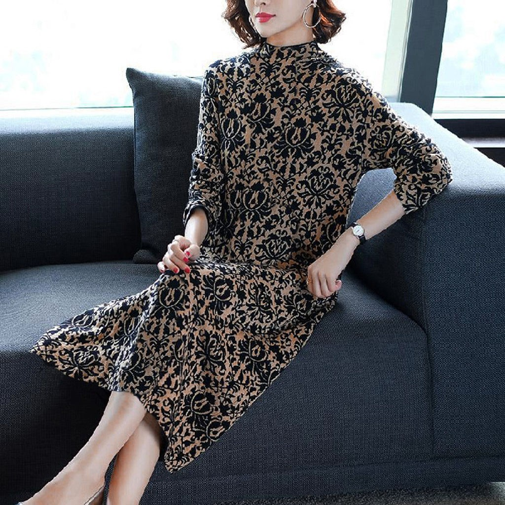 Dress 2020 Women Fashion Lady Elegant Knee Length Pocket Long Sleeve Retro Printing Dress Sexy Party Dress Vestidos de fiesta