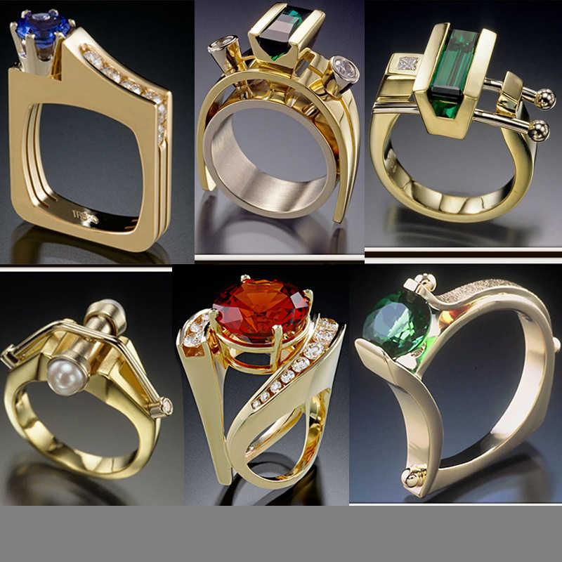 S925 Sliver บริสุทธิ์อัญมณี Topaz แหวนผู้หญิงผู้ชายแฟชั่น Anillos งานแต่งงาน Hip Hop เครื่องประดับมรกตเงิน 925 เครื่องประดับแหวน