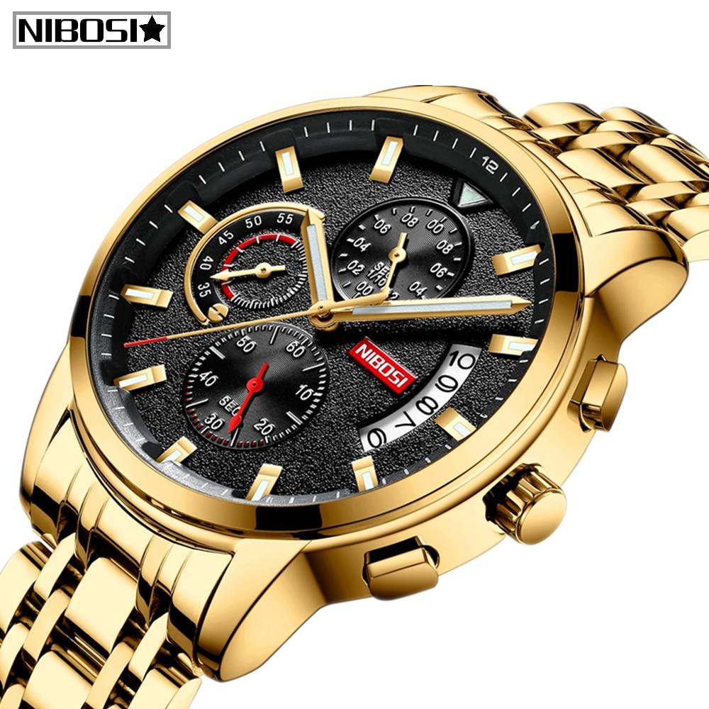 2019 New Brand NIBOSI Quartz Watch Men Sport Watches Men Steel Band Military Clock Waterproof Gold Wrist Watch Relogio Masculino