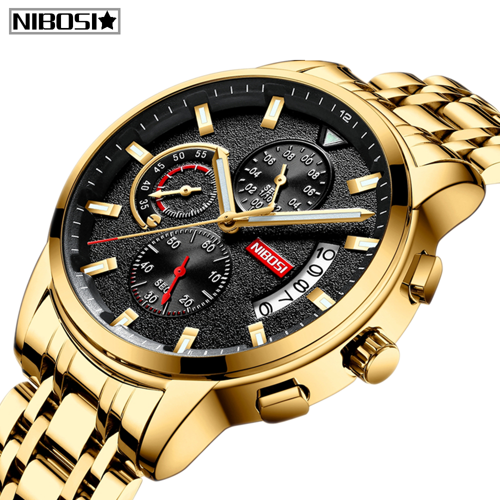 NIBOSI Relogio Masculino Top Brand Luxury Mens Watches Reloje Watch Men Fashion Sport Quartz Watch Waterproof Business Men Watch