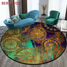 Vintage Rugs Ethnic Round Carpet Bohemia Living room Mat Yoga Mat Cloakroom Retro Ethnic Non-slip Round Carpet For Bedroom tapis