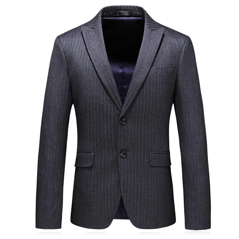 Autumn and Winter New Men Blazer Jacket Slim Design Business Banquet Men Dress Jackets Classic Gray Stripe Suit Men Coat