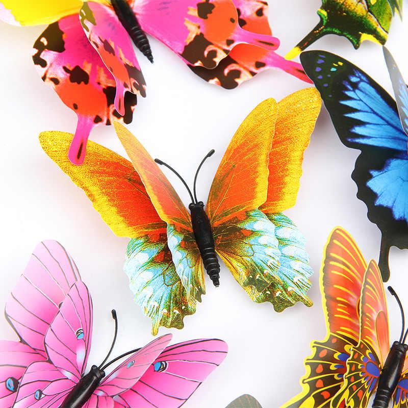 12 adet/takım çok renkli çift katmanlı 3D kelebek duvar Sticker mıknatıs PVC kelebekler parti yatak odası buzdolabı dekorasyon