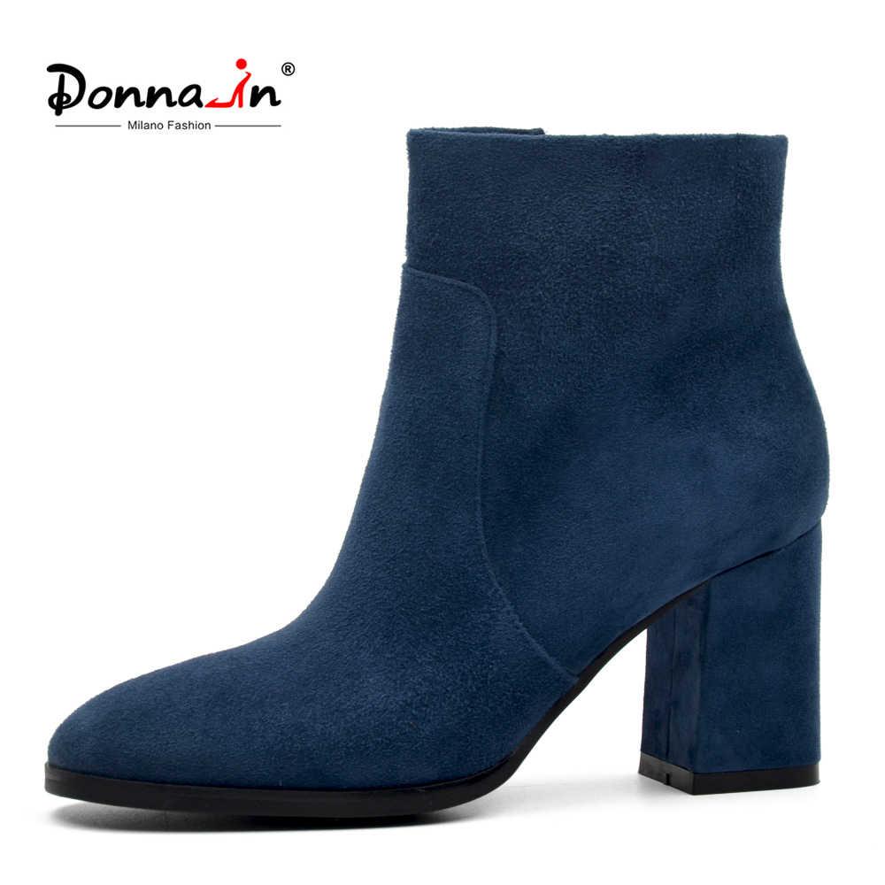 DONNA-IN koyun süet ayak bileği çizmeler moda kare ayak kalın topuk kadın çizmeler yüksek topuk hakiki deri bayan çizmeler