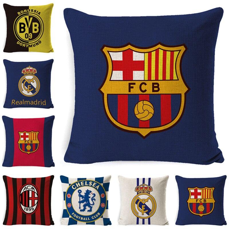 Pillow Cover Linen Super Soft Pillow European Football Team Cushion Pillow Christmas Pillows  Decorative Pillows  Pillow Cover