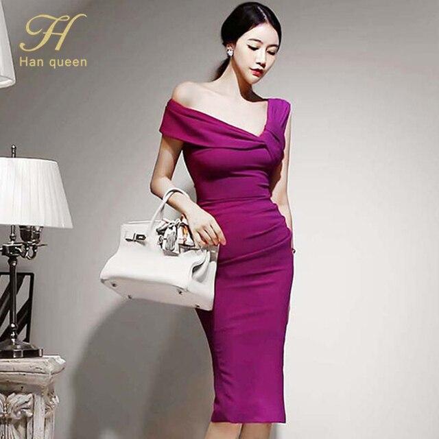H Han Queen Elegant Slash neck Pencil Dress Women Spring Autumn High Waist Sheath Dresses Korean Slim Chic Party Bodycon Vestido 5