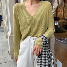 2019 Women Summer Fashion Casual Solid Long Sleeve V-Neck Single Breasted Thin Blouse Sun Protection Button Up Knitted Cardigan button up v neck flat knitted cardigan