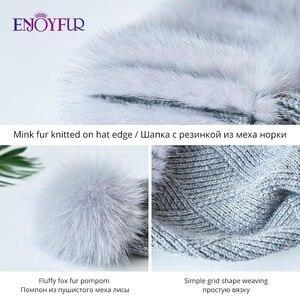 Image 5 - Enjoyfur冬のミンクの毛皮ニットウール帽子女性キツネの毛皮のポンポンだらしないビーニーファッション暖かいスタイルキャップ青少年のための