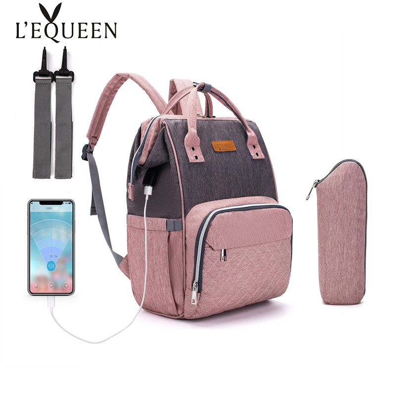 LEQUEEN USB Diaper Bag Mummy Maternity Diaper Bag Large Nursing Travel Backpack Stroller Baby Bag Baby Care Nappy Backpack