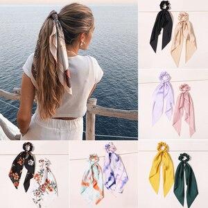 Women Scrunchies Polka Floral Elastic Bow Hair Rope Girl Hair Ties Korean Sweet Hair Accessories Headwear Head Wrap