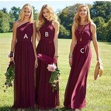 Burgundy 2019 Cheap Bridesmaid Dresses Under 50 A-line Halte