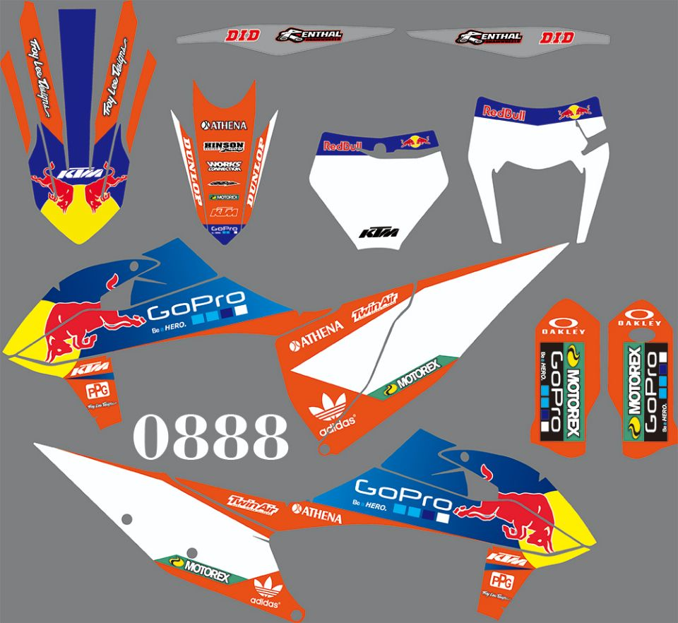 For KTM 125 250 300 350 400 450 500 EXC XC XCF 2020 SX SXF 2019-2020 Full Graphics Decals Stickers Kit Custom Number Name