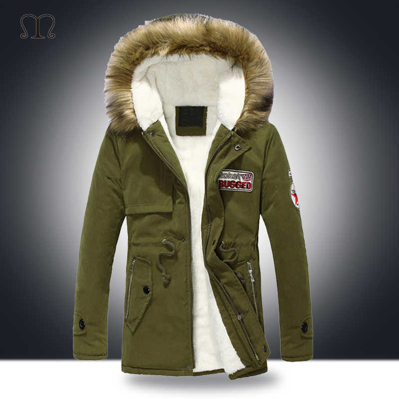 Fur Hood Winter Jacket Men Fashion Warm Thick Windbreaker Fleece Cotton-Padded Parkas Male Military Overcoat Army Clothing 4XL