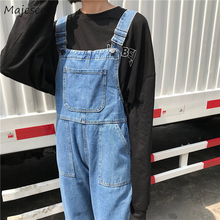 Jumpsuits Women Denim Solid Big Pockets Womens Overalls Korean Style BF Harajuku