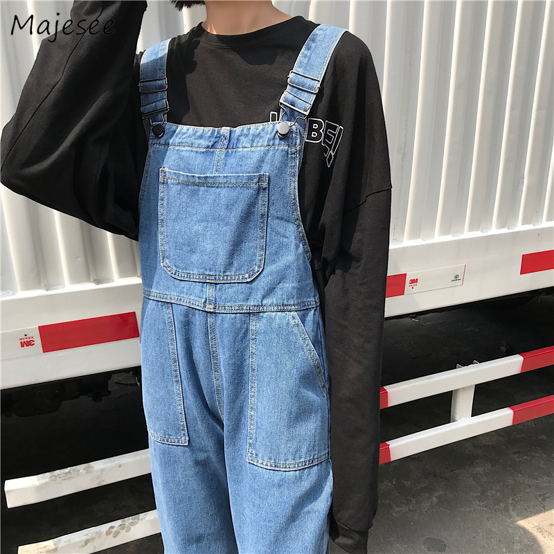 Jumpsuits Women Denim Solid Big Pockets Womens Overalls Korean Style BF Harajuku All-match Streetwear High Waist Loose Straight