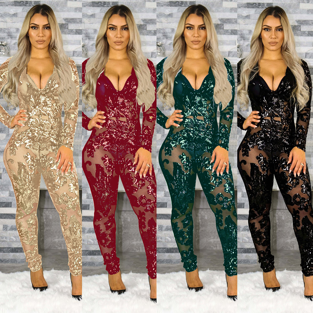 Tsuretobe Sexy Perspective Sequins Jumpsuits Women Bodycon Party Club Romper Long Sleeve Overalls Deep V-Neck Outfits Female