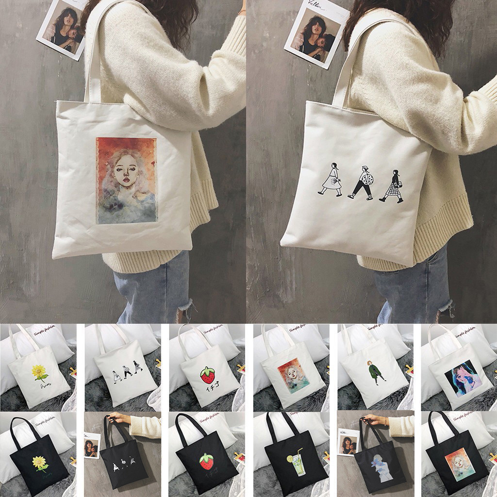 2019 Ladies Handbags Cloth Canvas Tote Bag Cotton Shopping Travel Women Eco Reusable Shoulder Shopper Bags Bolsas De Tela #40